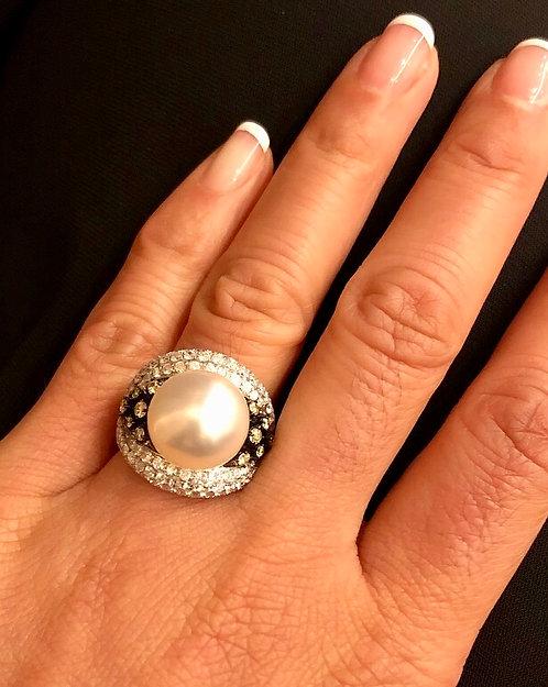 South Sea White Pearl Diamond Ring