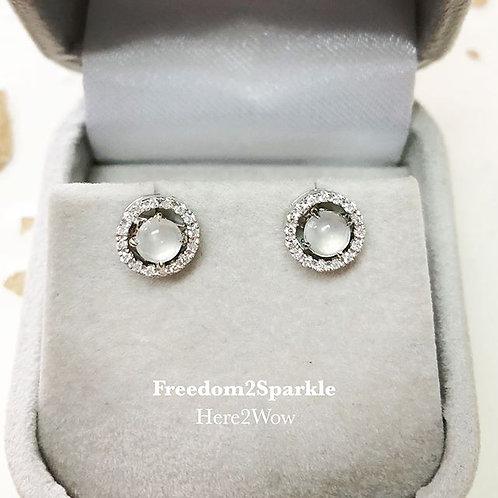 Ice Jade and Detachable Halo Diamond Earring