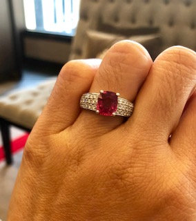 Pinkish Red Spinel Ring