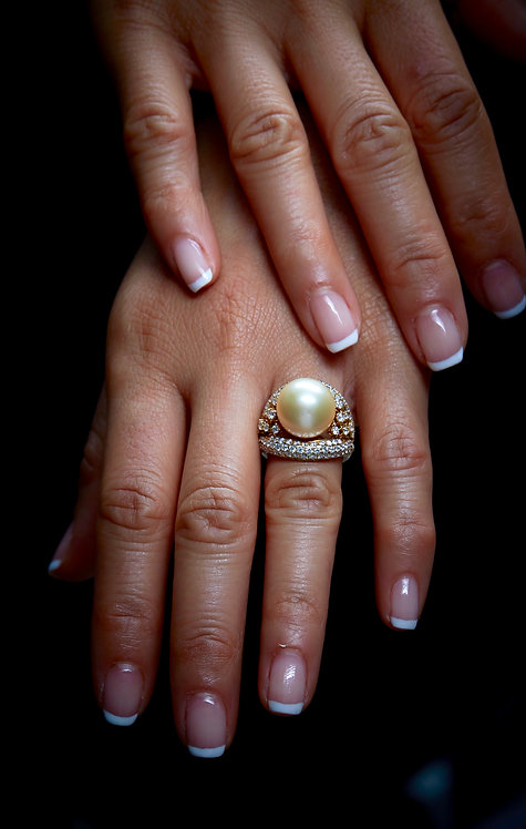 South Sea Gold Pearl Diamond Ring