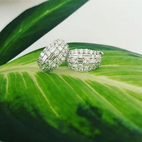 Emerald and Round Cut Diamond Earrings
