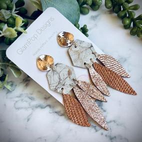 Rose Gold Marble Earrings