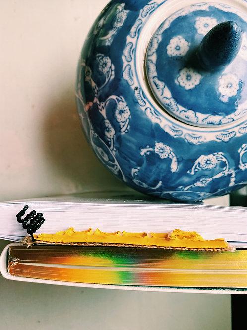 Upcycled Bookmark- Handmade Burlap Bookart - eco reuse-Social Work Gift