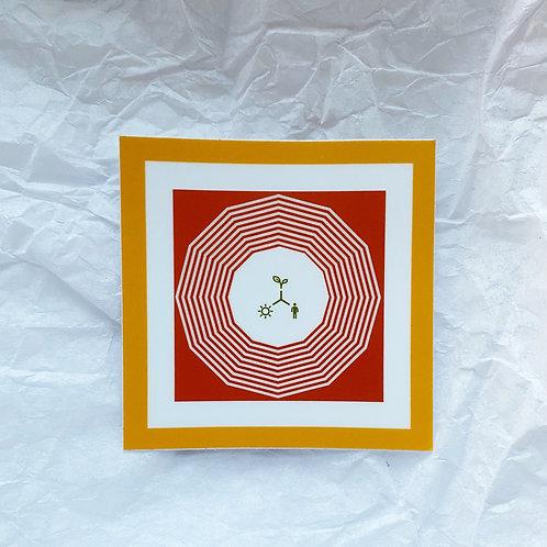 "Orange Geometry Logo 2"" x 2"""