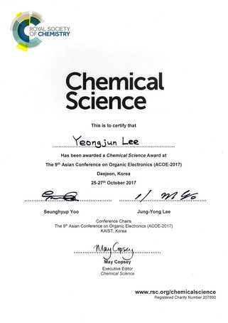 이영준 박사 The Asian Conference on Organic Electronics, Chemical Science Award 수상