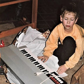 Bjørn in December 1982 with his first ever musical instrument, this Bontempi electric organ