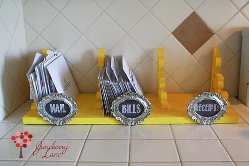 diy: shelf/screen door bracket mail & receipt sorter