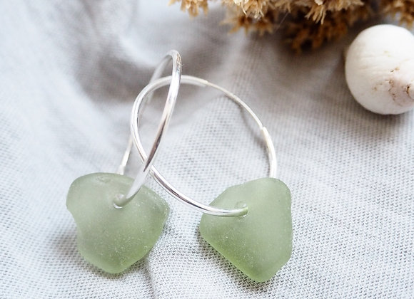 Highland//Pale green sea glass hoop earrings