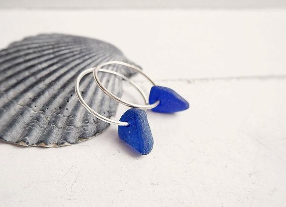 Cornwall//Cobalt sea glass hoop earrings