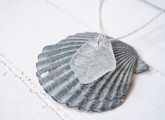 Nairn//Textured white sea glass necklace