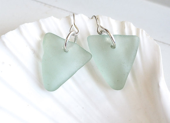 Cornwall//Large pale turquoise sea glass earrings