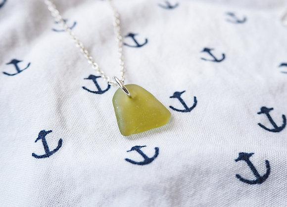 Highland//Citrus green sea glass necklace
