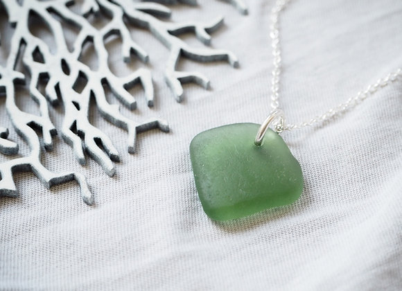 Cornwall//Large forest sea glass necklace