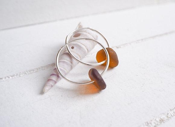 Cornwall//Chocolate sea glass hoop earrings