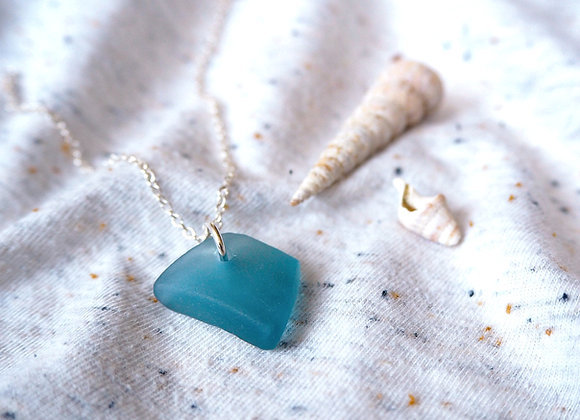 Devon//Denim blue sea glass necklace