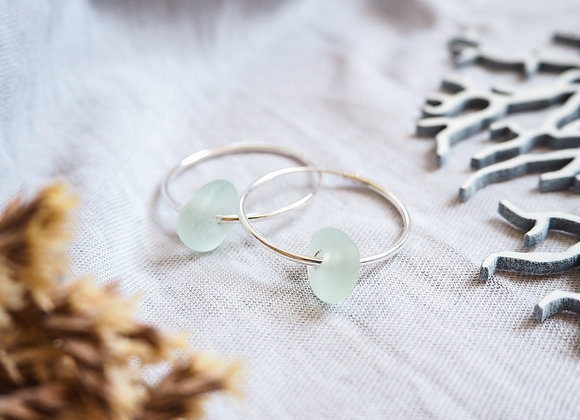 Seaham//Pale turquoise sea glass hoop earrings