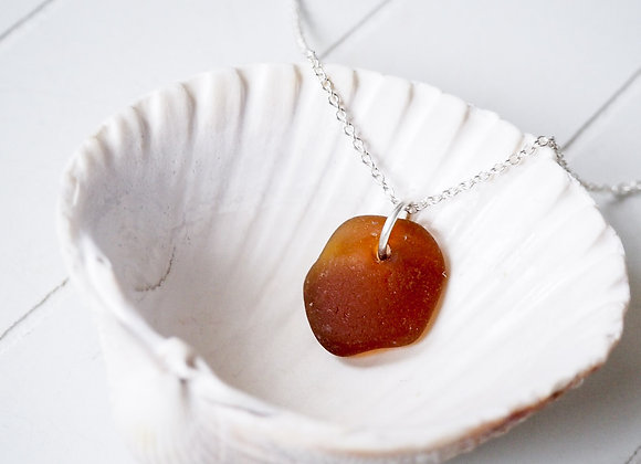 Cornwall//Small amber sea glass necklace