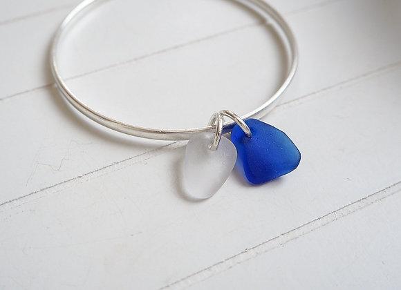 Devon//Cobalt & white sea glass bangle