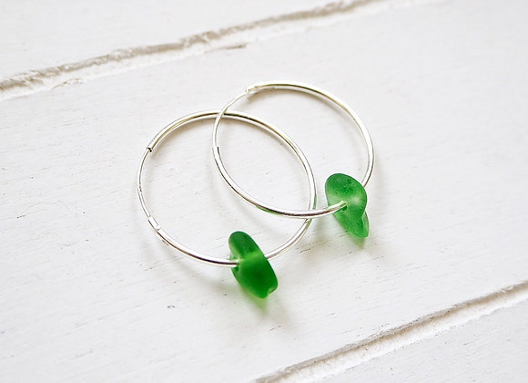 Cornwall//Vibrant green sea glass hoop earrings