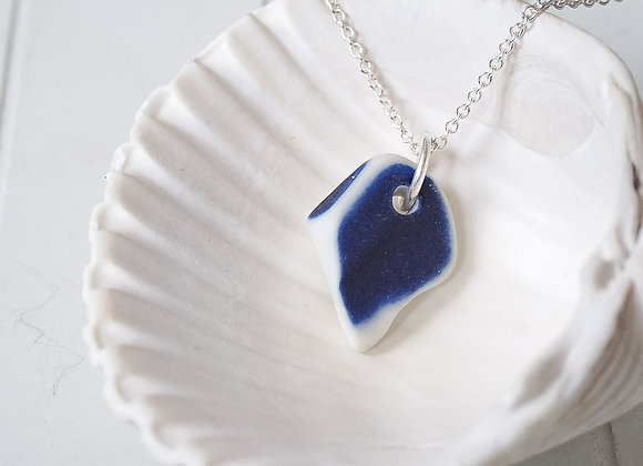 Cornwall//Blue sea pottery necklace