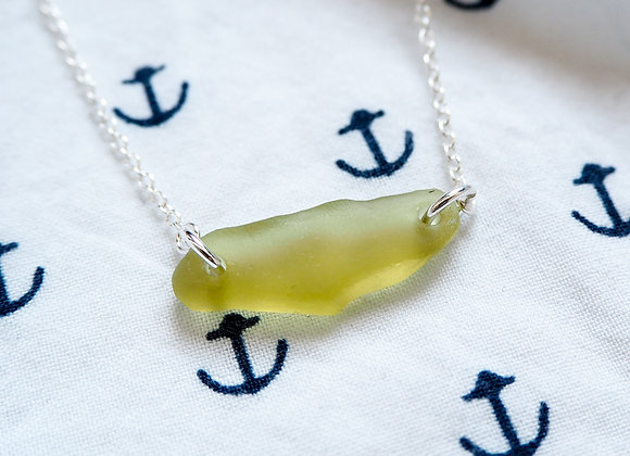 Cornwall//Citrus lime sea glass necklace