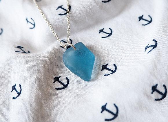 Highland//Cornflower sea glass necklace