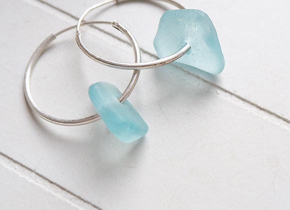 Cornwall//Pale blue sea glass hoop earrings