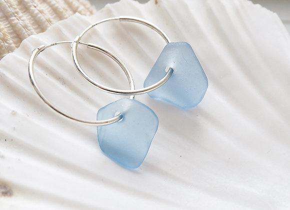 Highland//Cornflower blue sea glass hoop earrings