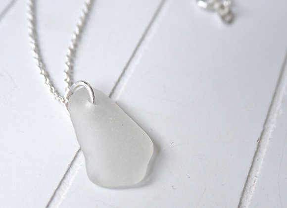 Cornwall//White sea glass necklace