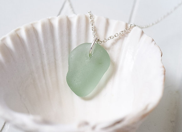Highland//Pale green sea glass necklace