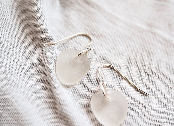 Seaham//Simple white sea glass earrings