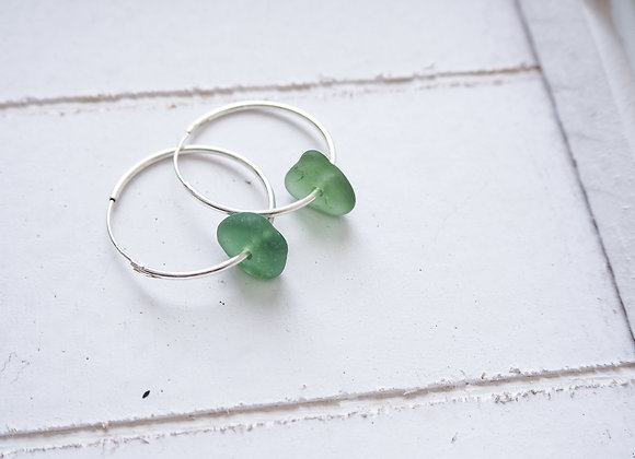 Highland//Forest sea glass hoop earrings
