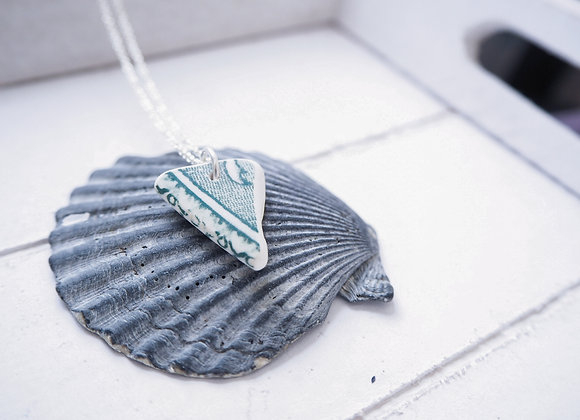 Highland//Teal sea pottery necklace