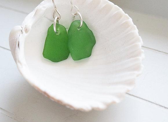 Highland//Grass green sea glass earrings