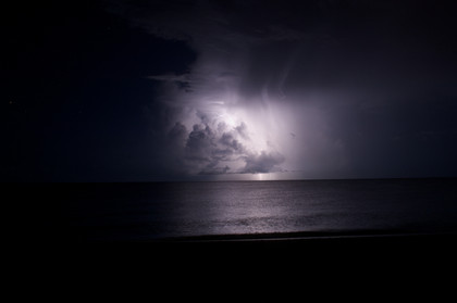 Lightning out at sea