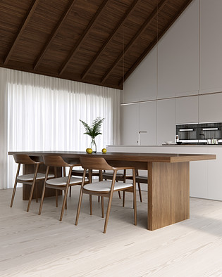 - Wood house. Interior -