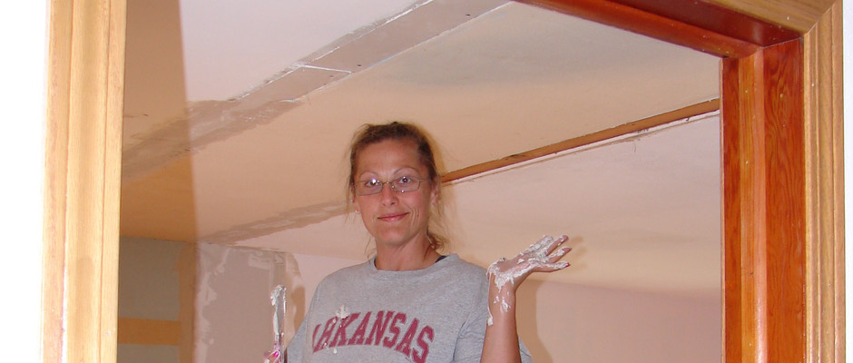We had to fix the ceilings and the floors before painting the entire inside of the house to cut down on the 50 years of smells it has accumulated.