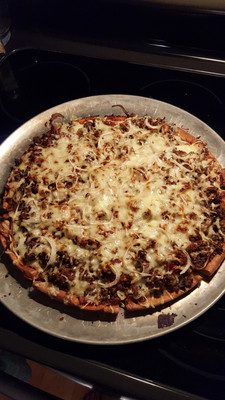 Sausage and cheese pizza.