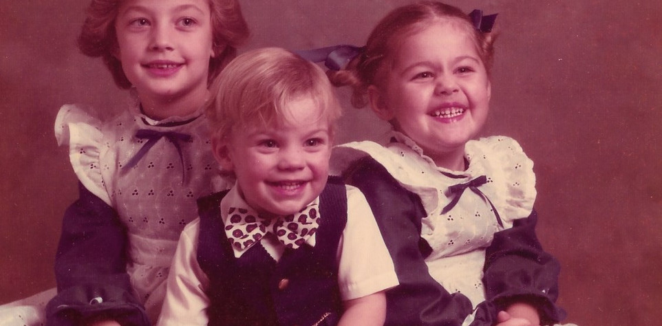 My sister, my brother, and me. I am the one with the devious smile.