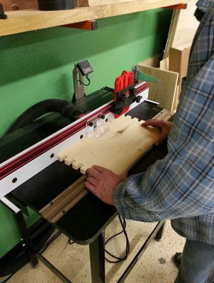 Ronnie making dovetails to assemble the beehives.