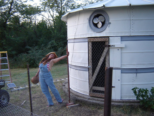 I finally finished painting the chicken coop! It matched the main barn and no longer was an eyesore near the road. I added a solar fan to remove the heat that would rise in the coop to keep it cool in the scorching Kansas summer heat.