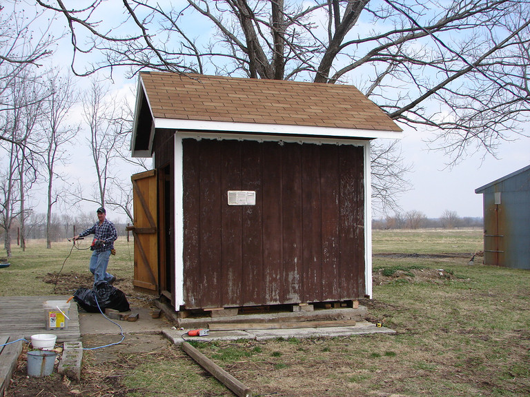 Ronnie lifted the old garden shed and put it on skids to move it out into the yard.