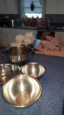 Ready to start processing chickens. The bowls are for sorting parts out for packaging. I fill them with ice water.
