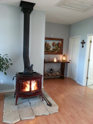 Nothing beats a hot fire in the wood stove after being out in the cold for hours filling your heart with country survival skills.