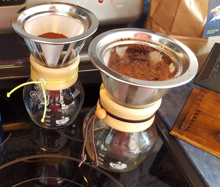The pour-over method was the choice I made for making our magical morning brew. We both liked our coffee slightly different, so two pots were better than one.  Every morning is the perfect cup of coffee!