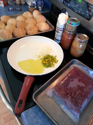 This is venison sloppy Joe in the making served on organic homemade slider rolls.  Items purchased: Organic olive oil, Worcestershire, organic flour, organic sugar, and yeast for the rolls.