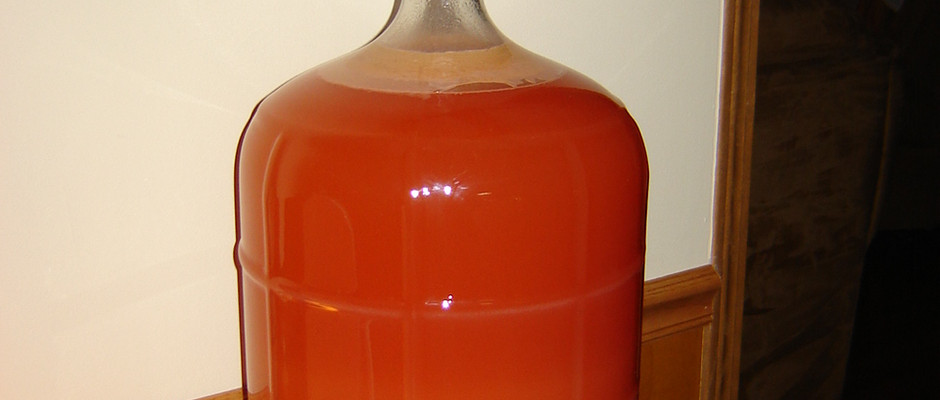 Organic strawberry wine fermenting in the carboy. It would rack out 23 bottles of wine.