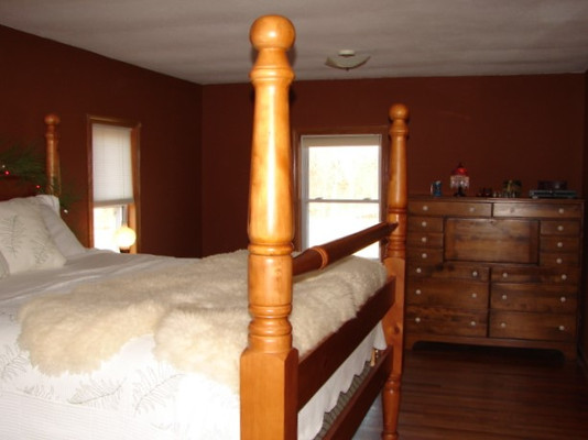 The master bedroom had no heat. The heavy wool pelt was needed to keep us warm at night in the winter months.