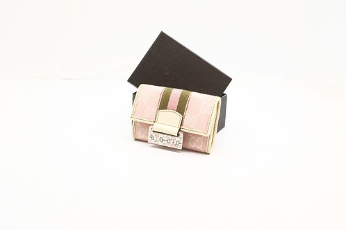 Gucci Sherry Line Key Holder in Pink GG Diamante Canvas