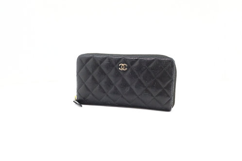 Chanel Zippy Long Wallet in Black Matelasse Leather